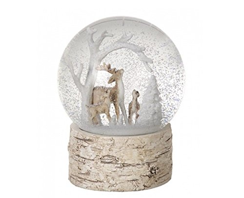 Weihnachtliche Schneekugel Rentier-Design–wunderschöne Winter-Szene auf Sockel in Holzoptik