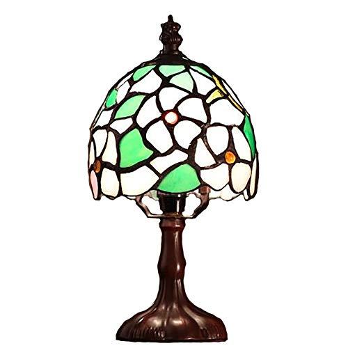 CANCUI Mini Lámparas de mesa,Retro Europeo Estilo tiffany Hecho a mano Personalidad Metálico 100% Base Luz de noche Para Sala de estar Oficina Dormitorio Lámpara escritorio-verde 26x14cm(10x6inch)
