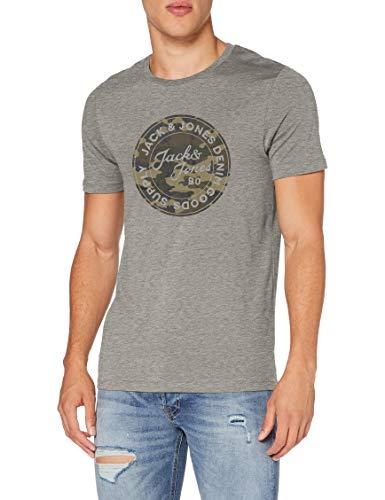 Jack & Jones JJCAMOMAN Tee SS Crew Neck T-Shirt, Gris Clair chiné, L Homme