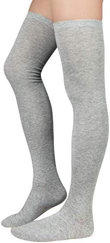 Zando Women Plus Size Thigh High Socks Over Knee Tube Stocking Sock Cotton High Leg Warmers product image