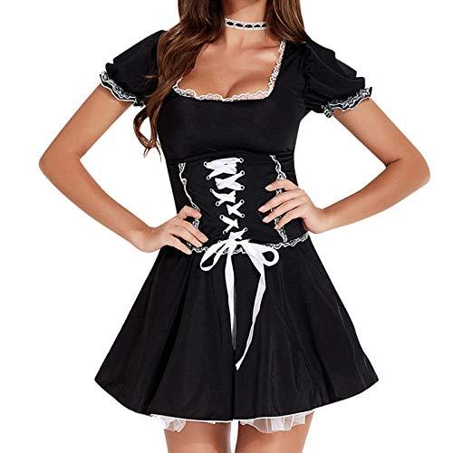 NHNKB Lolita - Costume di carnevale francese da bambina, a maniche corte, costume da coniglio, 3 pezzi, con vestito nero, copricapo, collare falso