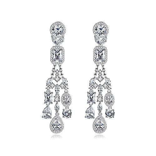 Gota chapada en plata con cristales y piedras transparentes 5A Circonita cúbica Colgante de diamantes de cristal Pendientes colgantes con botón Joyería de moda Regalos para damas