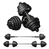 HAKUWI Adjustable Dumbbell Set, 66 LB Dumbbells Barbell 2 in 1 Weight Set with Connecting Rod Free Weights Solid Steel Barbells set for Men Women Home Gym Workout Equipment