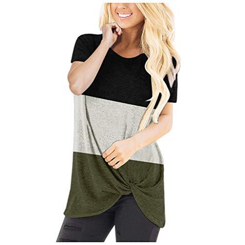 Auifor ReooLy Dames Casual Comfy Colorblock knopen O-hals korte mouwen Tunieken Top onregelmatige zoom Verhoog de hoogte van de blouse T-shirt