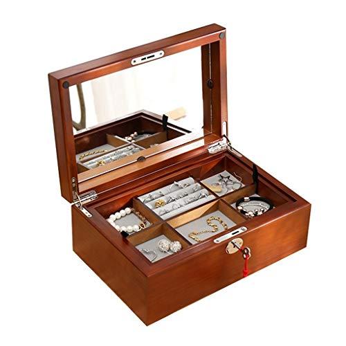 Jewelry Box Joyero Organizador De Almacenamiento De Joyas De Una Capa con Cerradura Caja De Joyería De Lujo Simple con Espejo Regalo De Cumpleaños para Damas (Color : Brown, Size : 30×21×6cm)