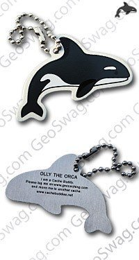 geo-versand Olly The Orca, Geocaching Trackable Traveltag Travelbug Geocoin, Trackables, TB, Coin,