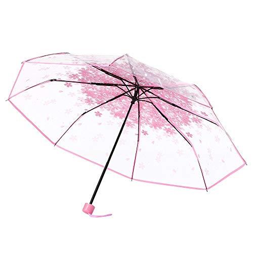 JWGD Paraguas Transparente Multicolor Paraguas Claro Flor de Cerezo Sakura Mushroom Apolo 3 Fold Creativo Largo de la manija del Paraguas (Color : Rosado)