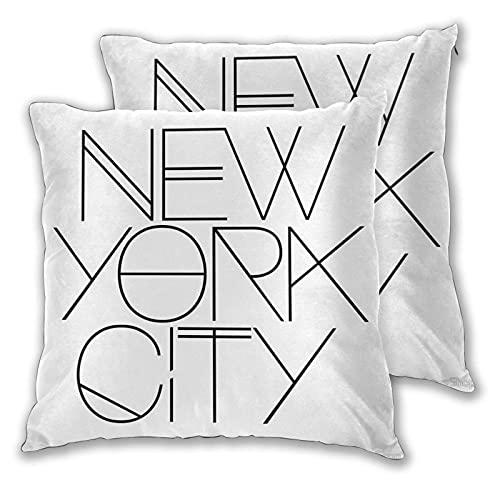 Juego de 2 fundas de almohada decorativas de la ciudad de Nueva York con dos lados impresos para sofá, cama, sala de estar, 45,7 x 45,7 cm