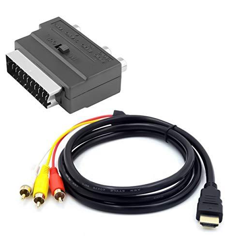 Lodenlli Cable Adaptador 2 en 1 Compatible con HDMI a 3Rca Scart Cable de Audio S-Video Macho Compatible con HDMI de 1,5 M a 3 RCA AV Cable de Audio 3
