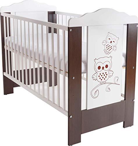 Niuxen CV-03 Baby Bett Kinderbett 120x60 höhenverstellbar Schlupfsprossen (mit Matratze) Motiv Eulchen