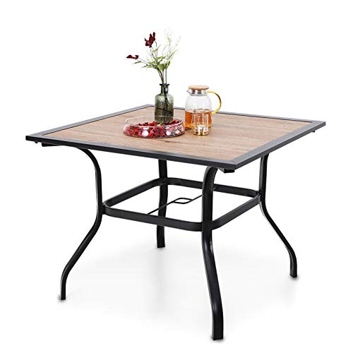 """PHI VILLA 37"""" x 37"""" Outdoor Patio Square Dining Table with Metal Steel Frame and Umbrella Hole"""