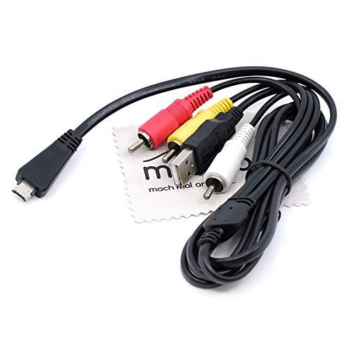 Cable USB/AV compatible con Sony Cyber-Shot DSC-HX7V, DSC-HX9V, DSC-H70, DSC-HX100V, DSC-T99, DSC-T110, DSC-TX5, DSC-TX10, DSC-TX20, cámara digital de 1,5 m, con paño de limpieza de pantalla Mungoo