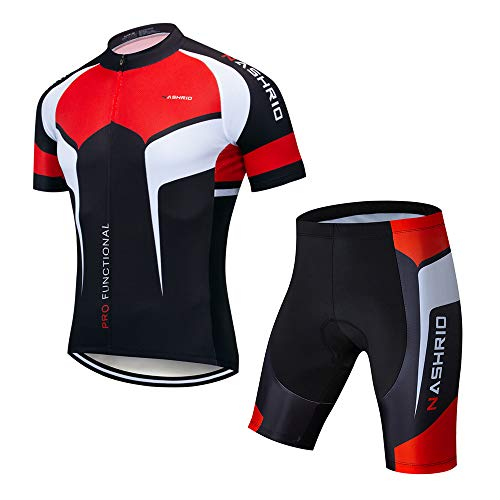NASHRIO Men's Cycling Jersey Set Bicycle Short Sleeve Set Quick-Dry Breathable Shirt+3D Cushion Shorts Padded Pants/Bib Short Black