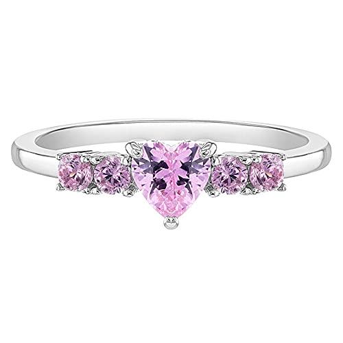 In Season Jewelry Plata Fina 925 Anillo en forma de Corazón con Circonita Rosa para niña, tamaño 2,para niñas pequeñas
