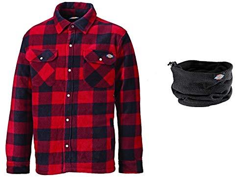 Dickies Thermohemd Portland SH5000, gefüttertes Hemd im Holzfällerlook, optimal für Herbst & Winter (Rot mit Halswärmer, L)