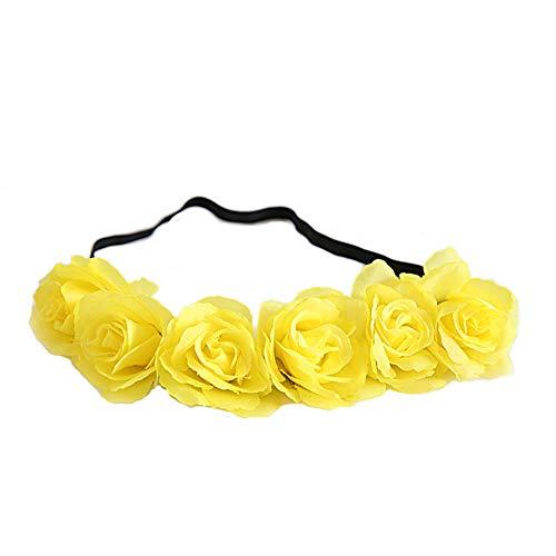 Yazilind Blume Frauen Blume Festival Hochzeit Beach Party Haar Kranz Stirnband Haarschmuck Gelb
