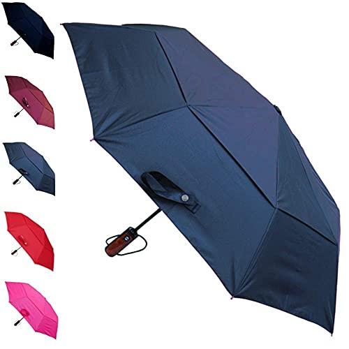 Marco de fibra de vidrio reforzado a prueba de viento de 50 mph – toldo ventilado – fuerte y compacto pequeño paraguas plegable impermeable – apertura y cierre automático