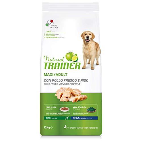 Natural Trainer - Cibo per Cani Adulti di Grande Taglia, Alimento Secco con Pollo Fresco e Riso, 12 kg