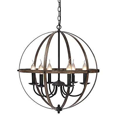KingSo Pendant Light 6 Light Rustic Metal Chandelier 23.62'' Oil Rubbed Bronze Finish Wood Texture Industrial Ceiling Hanging Light Fixture for Indoor Kitchen Island Dining Living Room Farmhouse