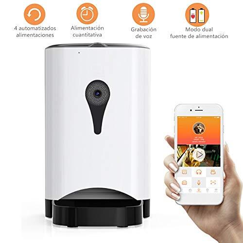 Febelle Alimentador automático Inteligente para Mascotas con cámara Control Remoto WiFi de vídeo Recargable comedero para Perros Gatos