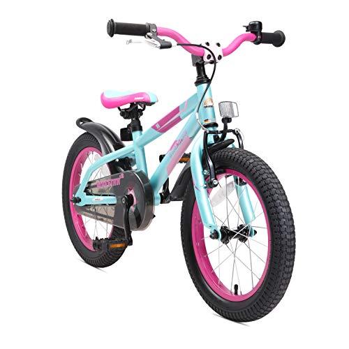 BIKESTAR Bicicletta Bambini 4-5 Anni da 16 Pollici Bici per Bambino et Bambina Mountainbike con Freno a retropedale et Freno a Mano Lilla & Turchese
