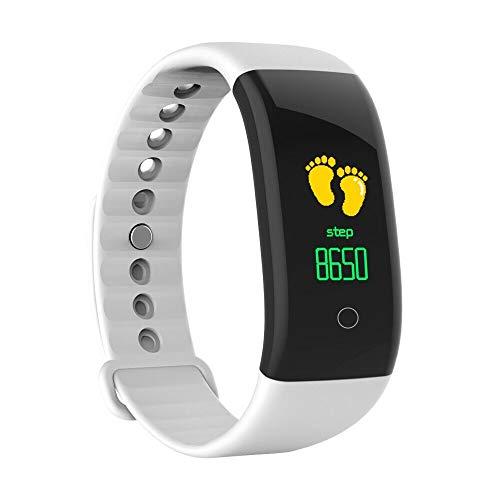 Smart Armbanduhr mit Herzfrequenz/Dorical Fitness Armbanduhr/USB-Lade-Fitness-Tracker/Wasserdicht Armband mit Schrittzähler Kalorienzähler Touchpad Bluetooth Uhrr für Damen Herren Kinder(Weiß)