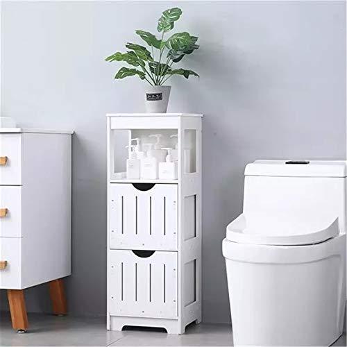 Goodvk Armadi per Il Bagno Scaffale a Tre Strati a Due cassetti Bagno per Uso Domestico Facile da Installare (Colore : White, Size : 12.5x12x33.5 Inches)