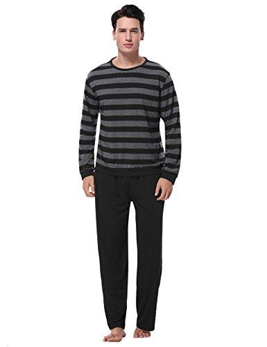 Aibrou Herren Schlafanzug Pyjama Baumwolle Lang Zweiteilig Nachtwäsche Set Langarm Rundhals Schwarz XXL