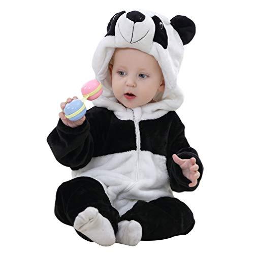 YOUJIAA Bébé Unisexe Barboteuse Filles Garçons Combinaison Flanelle à Manche Longue Pyjama à Capuche (Noir Panda #2, 120)