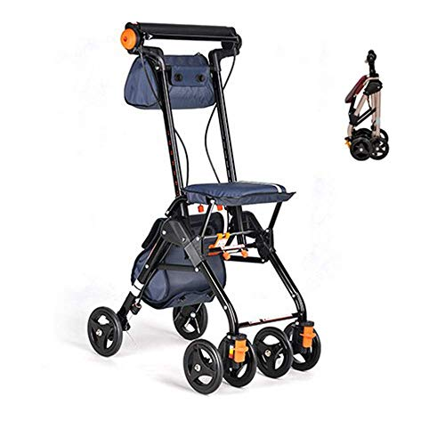 Z-SEAT Leichter, zusammenklappbarer Allrad-Rollator mit elektrischem Rollstuhl, gepolstertem Sitz, abschließbaren Bremsen, ergonomischen Griffen und Tragetasche
