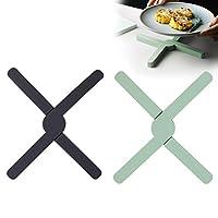 bojly set di 2 sottopentola in silicone a forma di croce, pieghevole e antisciovole, resistente al calore fino a 430°f, lavabile in lavastoviglie, 21.5 x 3.6 x 1.6cm