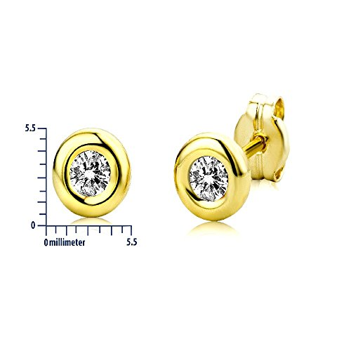 Miore - Orecchini a lobo da donna con zirconia cubica, oro giallo 9k (375)