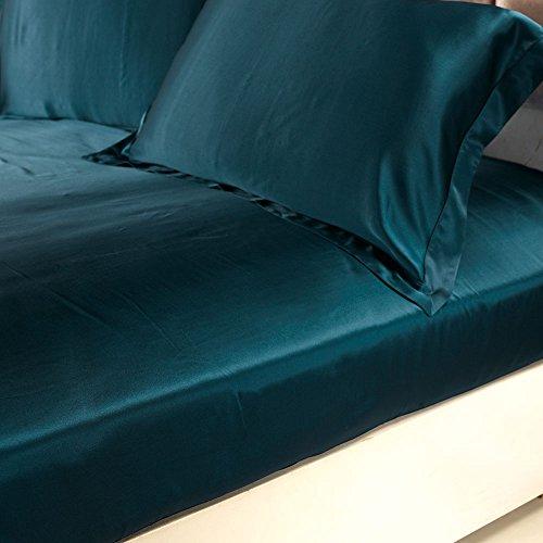 LilySilk Sábana Bajera/Sábana de Cajón de Seda sin Costura Azul Real 150 x 200+30cm Queen 19MM 100% Nutural