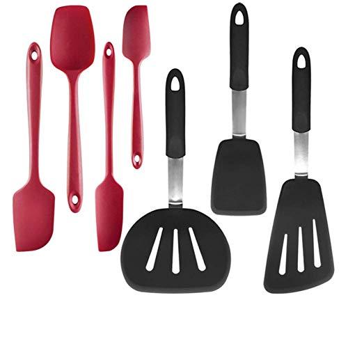 Spatules de cuisine, ensemble d'ustensiles de cuisine en silicone 7 pièces Ustensiles de cuisine ustensiles de cuisine antiadhésifs cuillère spatule en silicone ensemble de spatule à gâteau