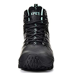XPETI Women's Quest Mid Waterproof Hiking Boot (7.5, Black)