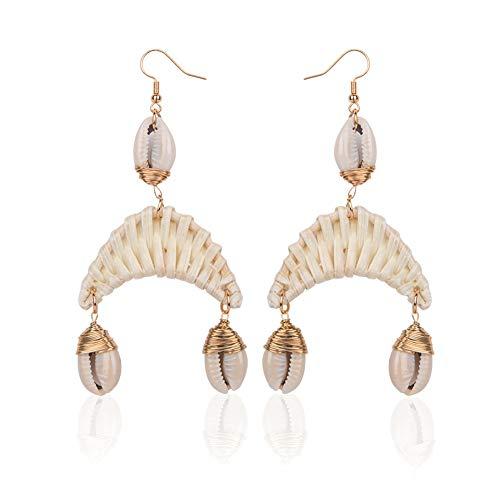 MoreChioce Femme Boucles d'oreilles,Cadeau Bijoux Longues Boucles d'oreilles Ethniques Bohême Tassel Boucles d'oreilles Fantaisie,Rotin #8