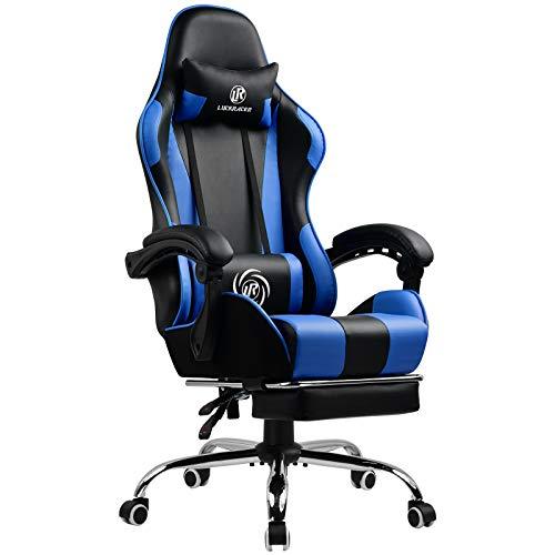 LUCKRACER Gaming Stuhl Massage mit Fußstütze Bürostuhl Massage Lendenkissen Drehstuhl Racing Armlehne PU Leder hohe Rückenlehne (blau)