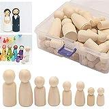 50pcs Holz-Klammern-Puppen, Form 35-65mm Menschen Gekritzel Spielzeug Massivparkett DIY Dekoration Geschenke für Kinder Graffiti-Malerei