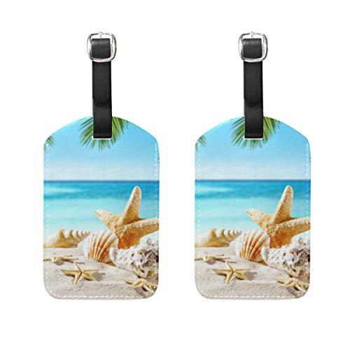 Chic Houses Etiquetas de equipaje de viaje de la playa de la marca Shell de la playa de la palma de verano de la maleta de la bolsa de etiquetas de identificación con correa negra 2031583