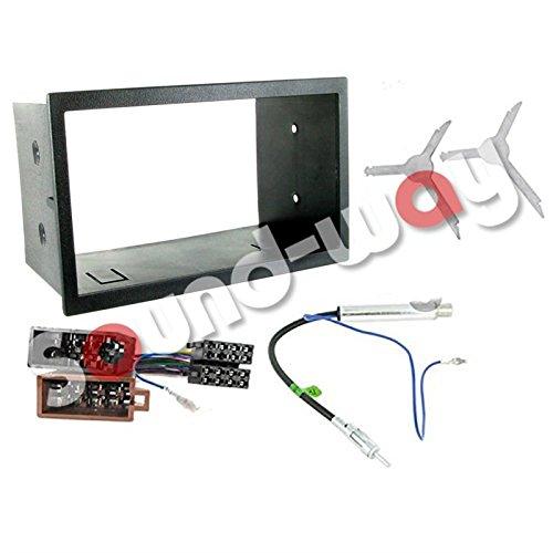 sound-way Kit Montage Autoradio, Cadre Façade 2 DIN, Adaptateur Antenne, Cable Adaptateur Connecteur ISO, Clés Démontage Compatible avec Volkswagen VW