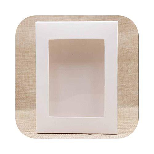Caja de regalo con 5 cajitas de papel para ventana, tamaño múltiple, ventana transparente de PVC, para paquetes de fiesta, boda, caramelos, color blanco, 10 x 10 x 5 cm