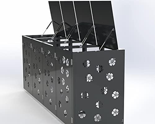 Ihre Mülleimer Werden zur Deko, Mülltonnenbox, Mülltonnenboxen, Mülltonnenbox 4 tonnen, Mülltonnenbox Metall, Mülltonnenbox 4er 240l (Grau) (Grau)