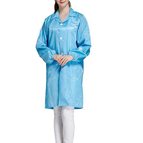 Calunce Button Up Lapel CollarESD/Anti Static Overalls Coat Lab Coat (3XL, blue)