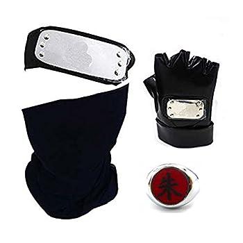4pc Ninja Anime Accessories Cosplay Hatake Kakashi Black Gloves Mask Headband Weapon Kunai Toy Men Fans