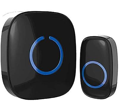 Wireless Doorbell by SadoTech – Waterproof Door Bells & Chimes Wireless Kit – Over 1000-Foot Range, 52 Door Bell Chime, 4 Volume Levels with LED Flash – Wireless Doorbells for Home – Model C (Black) by SadoTech
