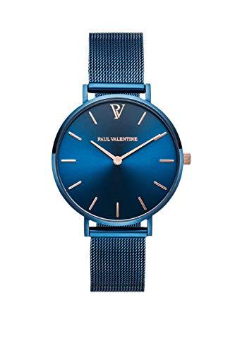Paul Valentine - Damenuhr - Blue Mesh - 32 mm Armbanduhr mit schönem Metallic-Ziffernblatt in blau, kratzfestes Glas, Mesh-Armband, Zeitlose Uhr für Damen