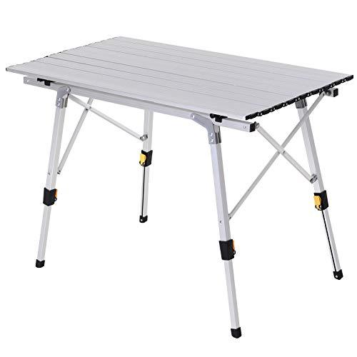 Outsunny Mesa de Picnic Mesa para Camping Plegable con Altura Regulable en 45-65 cm Estructura Estable de Aluminio con Bolsa de Transporte Soporta 30 kg 90x53 cm Plateado