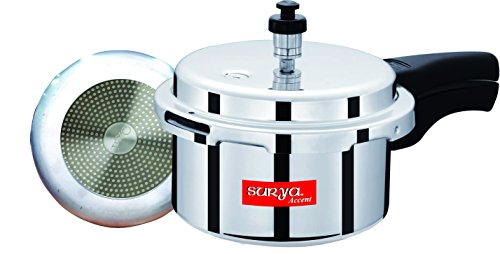 Surya Accent Outer-Lid Aluminium Pressure Cooker, 3Litres