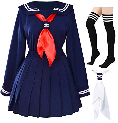 Classic Japanese School Girls Sailor Dress Shirts Uniform Anime Cosplay Costumes with Socks Set(Navy)(Plus Size = Asia 5XL)(SSF07NV)