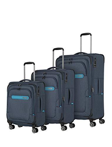 Travelite travelite: Madeira – sehr leichte Trolleys, Trolley-Taschen, Reise- und Bordtaschen plus Weekender Koffer-Set, 77 cm, 183 Liter, Marine/Türkis